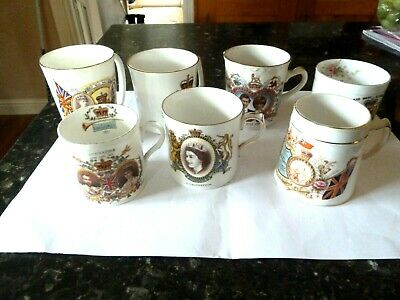 7 Royal Commemorative Mugs - Dating From 1897 To 1981 • 6.99£