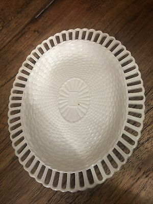 Rare Early Antique Leeds Creamware Basket Weave Oval Small Plate  • 21£