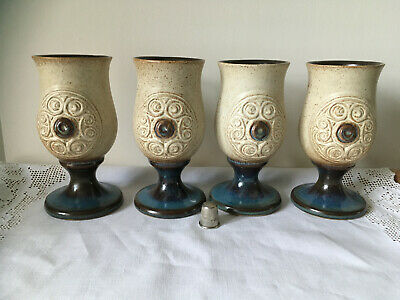 Earthenware Goblets 4 Medieval Gothic Style Blue Glazed Bases &  Interiors • 22.99£