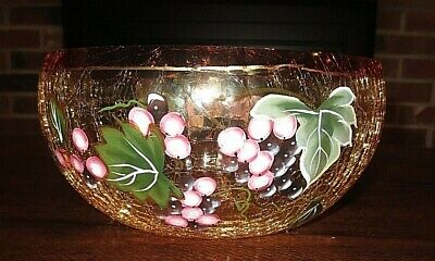 Italian Imported  Crackle Glass Fruit Bowl  Grapes New • 21.44£