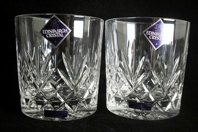 Pair Of Edinburgh Crystal Tay Pattern Whisky Glasses Tumblers (with Labels) • 24.99£