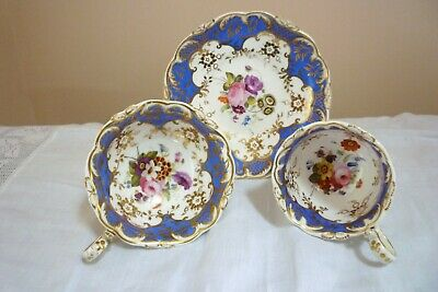 Early 19th C Rockingham Ridgway ? Tea Trio Hand Painted Flowers Gilding C.1840s • 21£