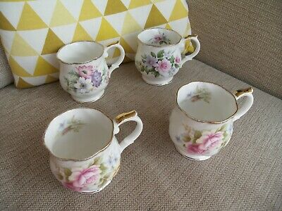 Queens Churchill Brand Fine Bone China Floral Mugs Cups X4  Good Used Condition • 14.99£