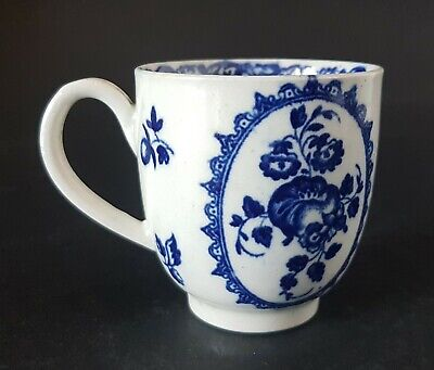 18th C. Worcester 1st Period 'Dr Wall'  Fruit & Wreath Patt Porcelain Coffee Cup • 25£