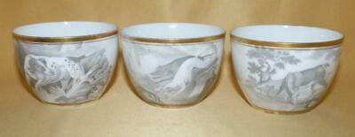 3 Spode Bat Printed Animals Pattern 557 Cups C1805-10 • 10£