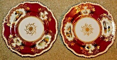 2 Coalport? China Maroon & Gilded Cabinet Plates Hand Painted Country Scenes • 95£