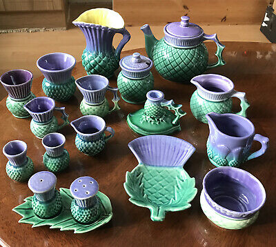 JOBLOT COLLECTION Green Purple Thistle Highland Ware, West Highland Pottery Etc • 30£