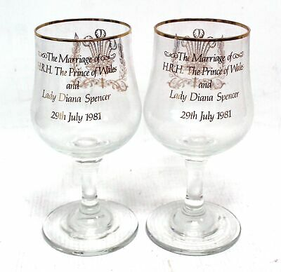 X2 DEMA: ROYAL WEDDING 1981 Commemorative Goblets - BOXED & USED - BC1 • 4.99£