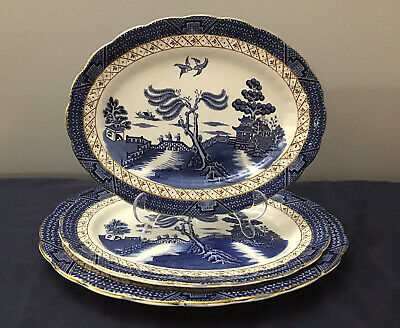 Set Of 3 Booths Real Old Willow A8025-Gold Edge - Brown Trellis - Platter Dishes • 65.99£