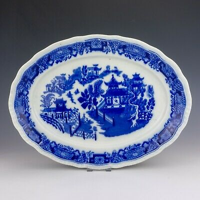 Antique Staffordshire Pottery - Flow Blue & White Transferware Meat Plate • 19.99£