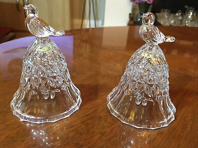"Pair Of Small 4"" Cut Glass Bells With Bird Atop Lovely Condition • 4£"