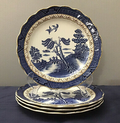 4 X Booths Real Old Willow A8025-Gold Edge - Brown Trellis Dessert/Salad Plates • 35£