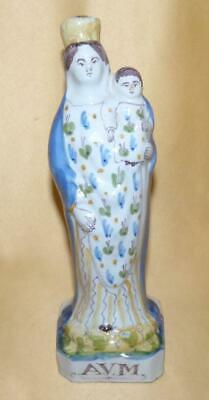 French Faience Madonna & Child Figure C1880-1900 • 50£