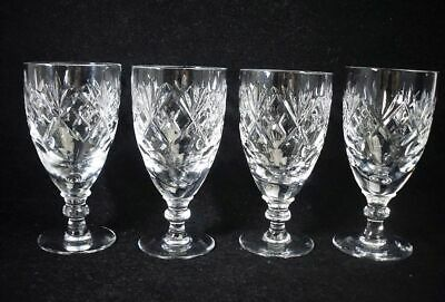 4 X Royal Doulton Corbett Glass Crystal VICTORIA Pattern Sherry Liqueur Glasses • 19.99£