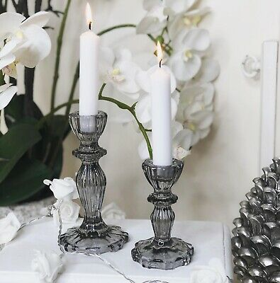 Pair Of Grey Glass Candlestick Holders With Lace Edge Detail Home Decor • 14.99£