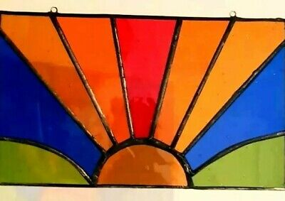 Sunset MultiColoured Stained Glass Panel Sun Catcher  • 19.95£