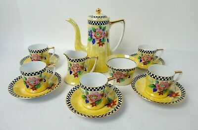 Art Deco Noritake Yellow Lustre Floral And Chequered Coffee Set With Pot • 195£