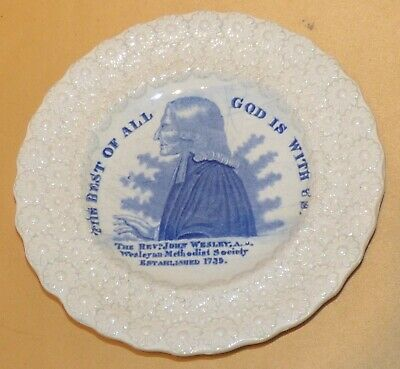 Staffordshire John Wesley Methodist Commemorative Blue & White Plate C1830s • 165£