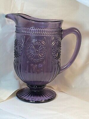 Purple Amethyst Glass Florentine Pattern Footed Pitcher By Godinger 34106 • 42.14£