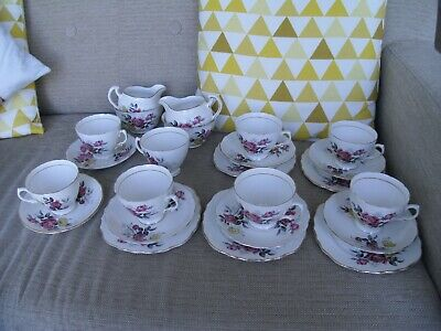 Royal Vale Yellow & Pink Roses Teaset - Cups Saucers Plates Jug & Sugar 24 Pces • 24.99£