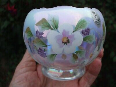 Fenton Clear Opalescent Carnival Glass Hand Painted Rose Bowl.Signed By Anderson • 34.99£