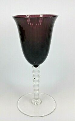Antique Vintage Hand Blown Amethyst Wine Stem Glass 19cm Tall - 156g • 15.95£