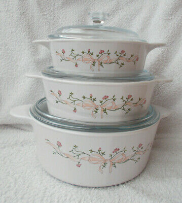 Johnsons Eternal Beau - Corning Casserole Dishes - Set Of 3 • 19.99£