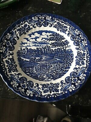 Antique Olde Country Castles Plate Blue Mint Condition • 1£