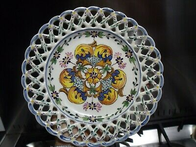 Portuguese Pottery Plate With Reticulated Rim ~ Carvalhinho Porto Plate C1940s • 20£