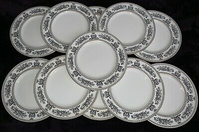 Wedgwood Columbia Black Dinner Plates Set Of Eleven • 180£