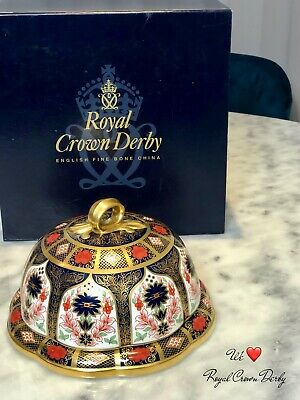 Rare! Royal Crown Derby Solid Gold Band Cheese Dish In First Quality • 525£