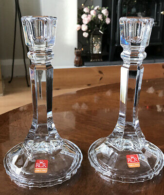NEW Pair Of Vintage RCR Crystal Glass Candle Holders 21cm Tall. • 15.50£