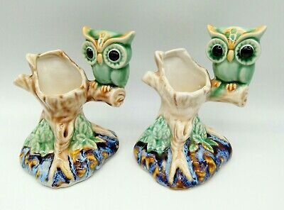 Pair Of Vintage Majolica Style Ceramic Own Figurine Candle Holder Ornaments • 30£