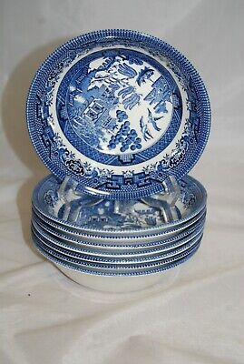 Churchill Blue & White Willow Design 8 X Small Dessert Bowls  • 13.50£