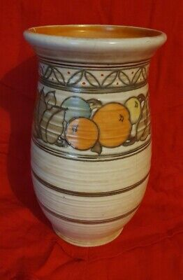 Charlotte Rhead Crown Ducal Tube Lined, Signed Vase 10in Oranges And Leaves 1930 • 14.95£