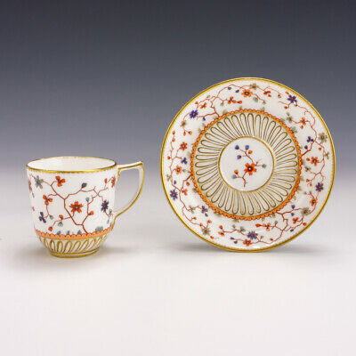 Antique Royal Crown Derby Porcelain - Flower Decorated Cabinet Cup & Saucer • 23£