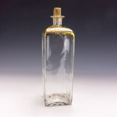 Antique Georgian Glass - Gilded Square Sectioned Decanter Bottle - Lovely! • 19.99£