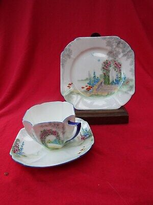 SHELLEY  Archway Of Roses  11606 Queen Anne Shape Art Deco Trio Cup Saucer Plate • 29.99£