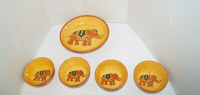 Pier 1 Elephant Serving Bowl Terracotta Red Orange And 4 Individual Bowls • 44.17£