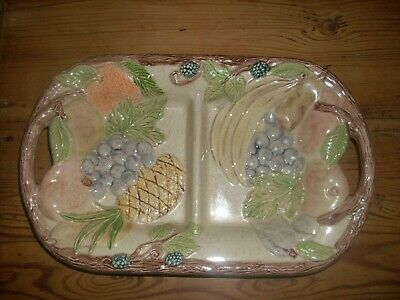 Pottery Divided Fruit Dish Raised Detail • 3.49£