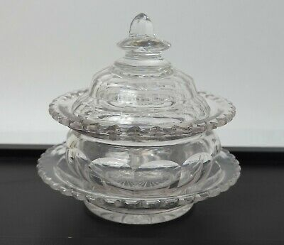 Antique Victorian Glass Trinket / Preserve / Chutney Pot With Cover And Stand • 18£