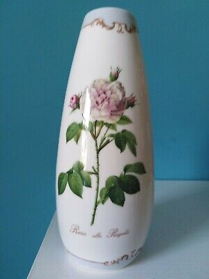 Queen's Fine Bone China Vase For Royal Horticultural Society ' Redoutes Roses' • 10£