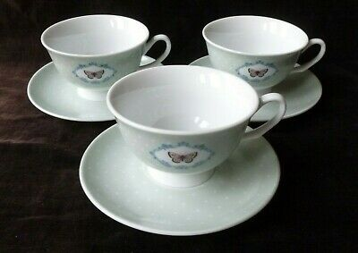 Laura Ashley China Tea Cups And Saucers X 3 Polka Dots And Butterflies • 8.99£
