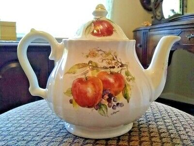 Royal Caldone Ceracraft Ltd. Teapot Made In England Apples/Berries • 11.05£