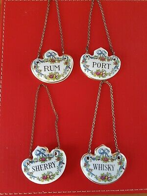 Set Of 4 Crown Staffordshire Decanter Labels • 39.99£
