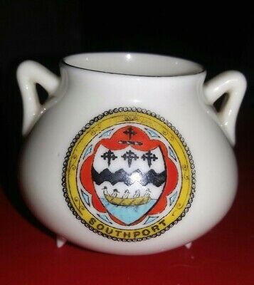 Crested China - Southport - Arcadian China - Grecian Bronze Pot • 2.99£