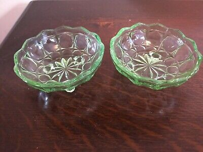 Two Green Depression Glass Bowls  • 3.50£