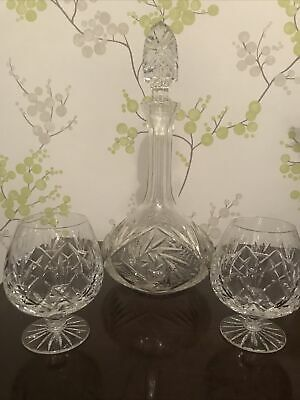Lead Crystal Decanter & Two Brandy Glasses • 21£