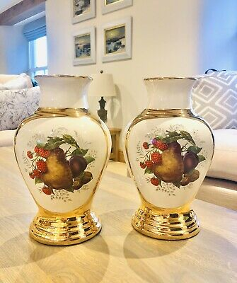 """J&S Pottery - Stoke On Trent, Staffs - 11"""" Pair Of Vases - Very Decorative • 25£"""