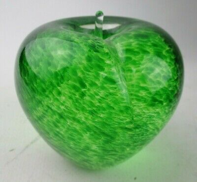 Vintage Wedgwood Art Glass Green Swirl Apple Paperweight • 4.99£
